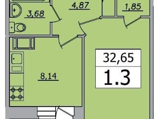 Продажа квартир: 1-комнатная квартира в новостройке, Ленинградская область, Всеволожский р-н, д. Кудрово, Пражская ул., 20, фото 1