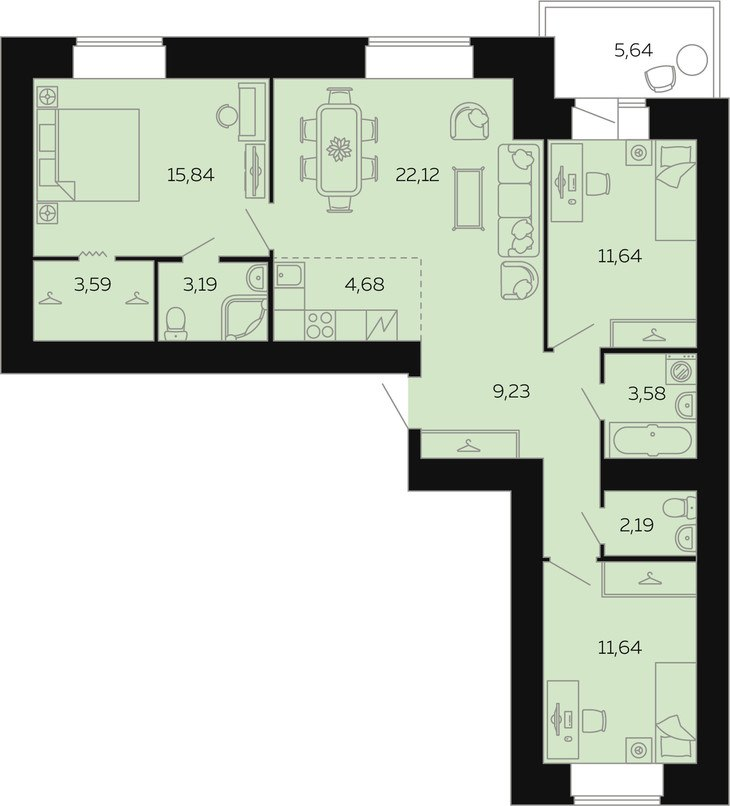 Продажа квартир: 4-комнатная квартира в новостройке, Барнаул, ул. Попова, 142, фото 1