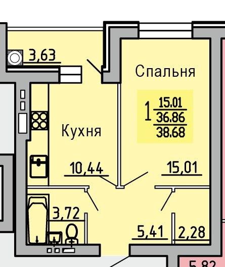 Продается однокомнатная квартира за 1 276 440 рублей. Воронежская обл, Новоусманский р-н, село Новая Усмань, ул Квартальная.